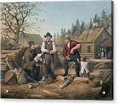 Arguing The Point Acrylic Print by Currier and Ives
