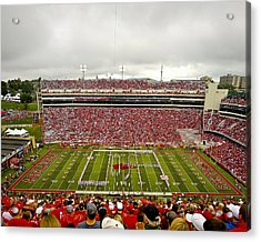 Arkansas Marching Band Forms U-of-a At Razorback Stadium Acrylic Print by Replay Photos