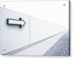 Arrow Pointing Into Distance Acrylic Print by Jorg Greuel