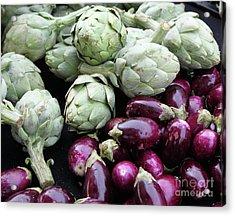 Artichokes And Eggplants  Acrylic Print by Enzie Shahmiri