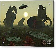 Artists Concept Of An Alien Scrap Yard Acrylic Print by Mark Stevenson