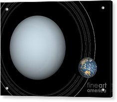 Artists Concept Of Uranus And Earth Acrylic Print by Walter Myers
