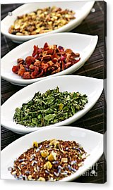 Assorted Herbal Wellness Dry Tea In Bowls Acrylic Print by Elena Elisseeva