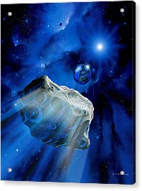 Asteroid Approaching Earth Acrylic Print by Detlev Van Ravenswaay