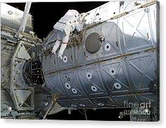 Astronaut Traverses Along The Destiny Acrylic Print by Stocktrek Images