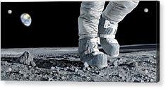 Astronaut Walking On The Moon Acrylic Print by Detlev Van Ravenswaay