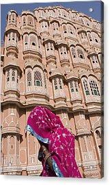 At Hawa Mahal City Palace, Jaipurs Most Acrylic Print by Axiom Photographic