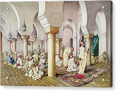 At Prayer In The Mosque Acrylic Print by Filipo Bartolini or Frederico