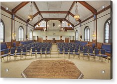 Auditorium With Blue Chairs And A Stage Acrylic Print by Douglas Orton
