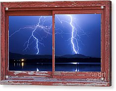 August 5th Lightning Storm Red Picture Window Frame Photo Art Acrylic Print by James BO  Insogna
