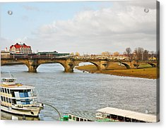 Augustus Bridge Dresden Germany Acrylic Print by Christine Till