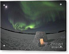 Aurora Borealis Over An Igloo On Walsh Acrylic Print by Jiri Hermann