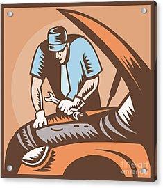 Automobile Mechanic Car Repair Acrylic Print by Aloysius Patrimonio