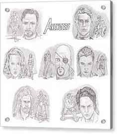 Avengers Team Acrylic Print by Chris  DelVecchio