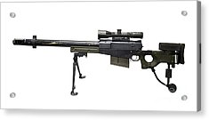 Aw50 Anti-materiel Bolt-action .50 Acrylic Print by Andrew Chittock