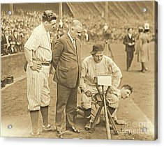 Babe Ruth Studies The Roster Acrylic Print by Padre Art