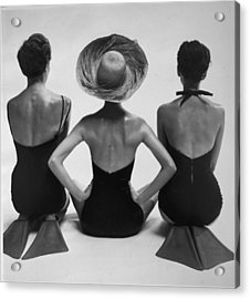 Back View Of Fashion Models In Swim Acrylic Print by Everett
