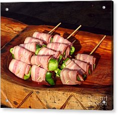 Bacon And Pepper Skewers Acrylic Print by Yali Shi