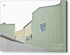 Balcony Railing On Green Building Acrylic Print by Eddy Joaquim