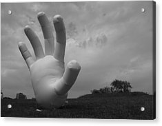 Balloon Hand Acrylic Print by Nina Mirhabibi