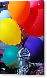Balloons Tied To Parking Meter Acrylic Print by Garry Gay