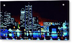 Baltimore By Black Light Acrylic Print by Thomas Kolendra