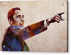 Barack Obama Watercolor Acrylic Print by Steve K
