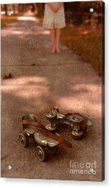 Barefoot Girl On Sidewalk With Roller Skates Acrylic Print by Jill Battaglia