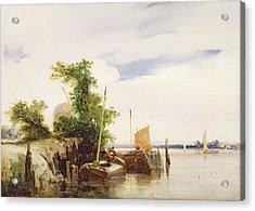 Barges On A River Acrylic Print by Richard Parkes Bonington