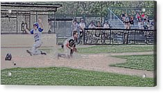 Baseball Runner Safe At Home Digital Art Acrylic Print by Thomas Woolworth