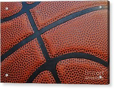 Basketball - Leather Close Up Acrylic Print by Ben Haslam
