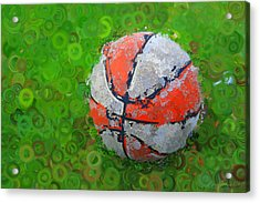 Basketball Orange White Green Abstract Acrylic Print by Geoff Strehlow