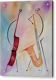 Bass And Sax Acrylic Print by Ikahl Beckford