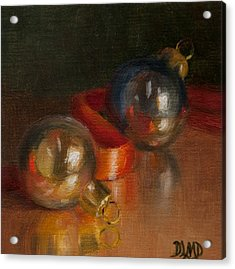 Baubles And Ribbon Acrylic Print by Debbie Lamey-MacDonald