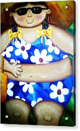 Beach Babe Acrylic Print by Unique Consignment