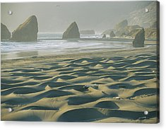 Beach With Dunes And Seastack Rocks Acrylic Print by Skip Brown