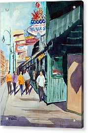 Beale Street Visual Overload Acrylic Print by Ron Stephens