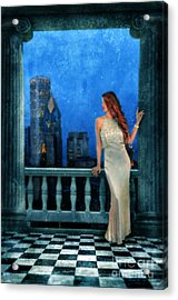 Beautiful Woman In Evening Gown With City Night View Acrylic Print by Jill Battaglia