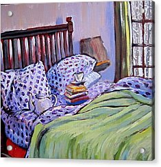 Bed And Books Acrylic Print by Tilly Strauss