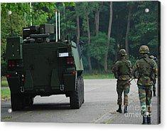 Belgian Infantry Soldiers Walk Acrylic Print by Luc De Jaeger