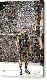 Belgian Soldier On Guard Acrylic Print by Luc De Jaeger