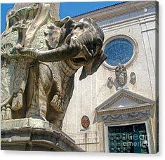 Bernini Elephant Statue And Santa Maria Sopra Minerva Acrylic Print by Gregory Dyer