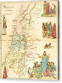 Biblical Map Palestine Acrylic Print by Pg Reproductions