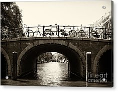 Bicycles Of Amsterdam Acrylic Print by Leslie Leda