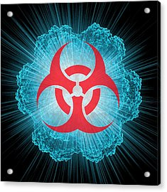 Biohazard Symbol And Virus Acrylic Print by Laguna Design