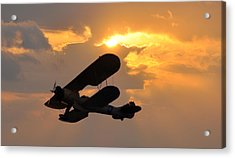 Biplane At Sunset Acrylic Print by Bill Cannon