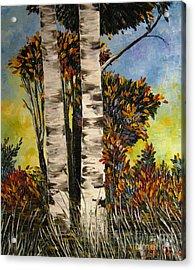 Birches For My Friend Acrylic Print by AmaS Art