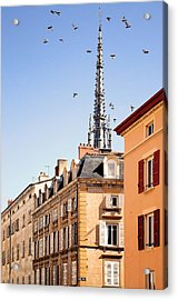 Birds Flying Over Church In Villefranche Sur Saone Acrylic Print by Copyrights by Sigfrid López
