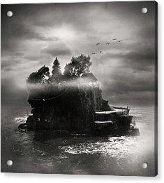 Birds Flying Over Island Acrylic Print by The ethereality