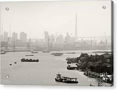 Black And White Of Cranes And River Traffic Acrylic Print by Jeremy Woodhouse